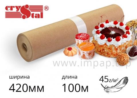 """Подпергамент """"П"""" - упаковочная бумага Crystal в рулоне l 45г/м2, шириной 420мм, длиной 100м"""