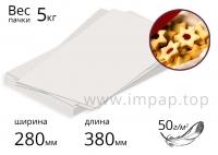 Бумага оберточная в листах для упаковки пищевых продуктов 50г/м2, 280х380мм - 5кг.