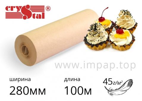 """Подпергамент """"П"""" - упаковочная бумага Crystal в рулоне  45г/м2, шириной 280мм, длиной 100м"""