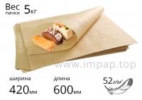 """Подпергамент """"П"""" (упаковочная бумага) в листах 52 г/м2 - 420х600мм - пачка 5кг"""