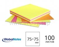 Бумажный блок для записей с липким слоем Global Notes 75x75мм - 100 листов