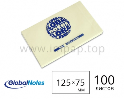 Блок бумаги для замeток с липким слоем 125x75 мм - 100 листов