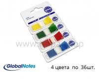 Стикеры с клейким краем (разделители) Global Notes 12,5x43мм - 4 цвета по 36шт.