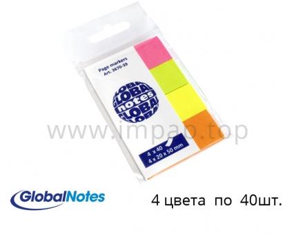 Стикер бумага для заметок, разделители Global Notes 20x50мм - 4 цвета по 40шт.