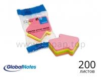Стикеры для бумаги с липким слоем (формой сердца, яблока, стрелки, диалогового окна) - 200л.