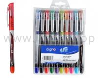 Набор цветных шариковых ручек DIGNO 4G FOPC - 10 цветов (масляная основа чернил)